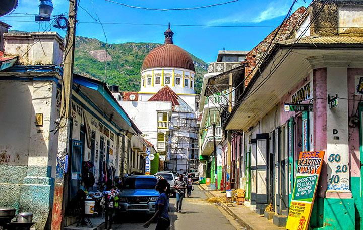 Colorful street in Cap Haitien