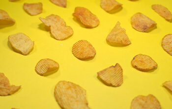 potato chips on a yellow background