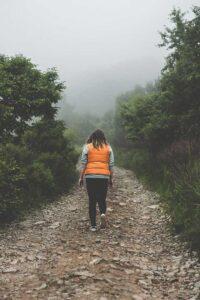 woman, seen from the back, wearing orange vest