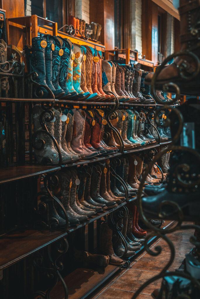 Racks of Western boots